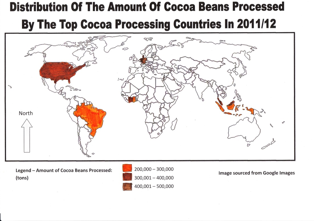 Processing - Geography interconnections: Cocoa on cocoa production map, chocolate map, pineapple map, yerba mate map, atlantic ocean map, nepal map, caffeine map, purple map, potato map, tobacco map, avocado map, tomato map, cocoa tree map, brown map,
